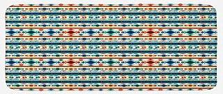 "Ambesonne Abstract Kitchen Mat, Tribal Abstract Seamless Aztec Geometrical Primitive Pattern, Plush Decorative Kitchen Mat with Non Slip Backing, 47"" X 19"", Orange White"