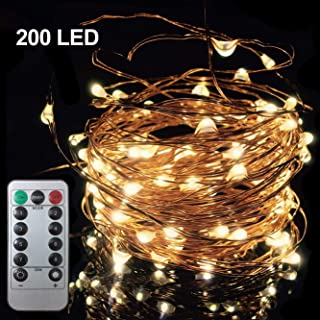 200 LED 66FT Starry Fairy String Light, 8 Lighting Modes Waterproof Decorative Copper Wire Lights, Remote Control Lights for Indoor Bedroom Wedding Party Window, USB Interface, Warm White