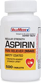 ValuMeds Enteric Coated Aspirin Tablets, 325 mg (Orange) Safety Coated (500 Tablets), Regular Strength Headache Medicine | Natural Anti-Inflammatory | Help Reduce Joint Pain, Menstrual Cramps