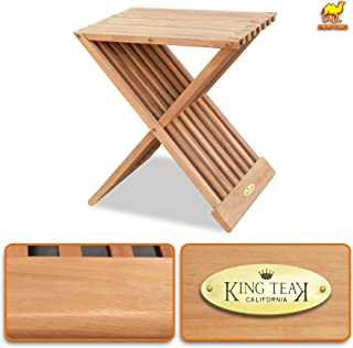"""Strong Camel Golden Teak Wood Folding End Side Snack Table Planter Stand Pedestal Table Furniture 17"""" High"""