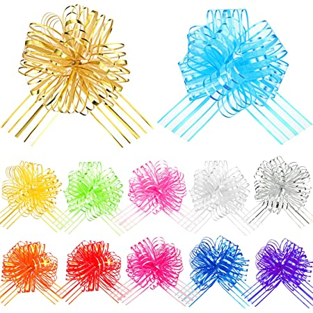 12 Pieces Mixed Color Pull Bow Large Organza Pull Bow Gift Wrapping Pull Bow with Ribbon for Wedding Gift Baskets, 6 Inch in Diameter