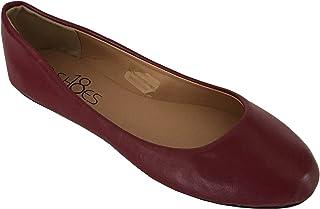 Shoes 18 Womens Classic Round Toe Ballerina Ballet Flat Shoes, Burgundy Pu 8600, 9
