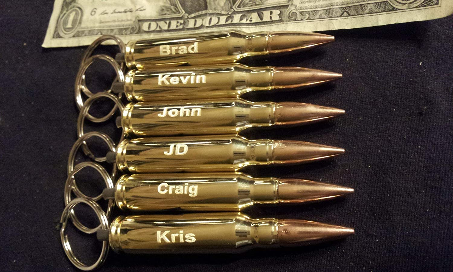 SIX Engraved small caliber .308 bullet Max 61% OFF opener key Raleigh Mall bottle chains
