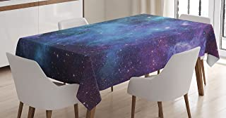 Ambesonne Outer Space Tablecloth, Galaxy Stars in Space Celestial Astronomic Planets in The Universe Milky Way, Rectangular Table Cover for Dining Room Kitchen Decor, 52