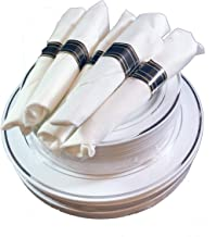 Disposable Plastic Party Plates and Silverware Sets for 20 guests (Silver Accents)