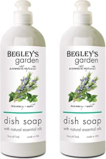 Begley's Aromatherapeutic Liquid Dish Soap, Plant-Based Formula, Natural Essential Oil Infused, Rosemary Mint Scent, 16 oz, Pack of 2