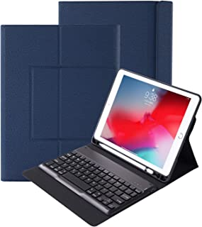 Povinmos Durable Leather Blue Apple iPad Pro 12.9 2018 3rd Generation Tablet Stand Case Cover with Wireless Bluetooth Keyboard, Pencil Holder (Supported Apple Pen Charging) Slim New