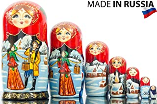 Russian Nesting Doll - Siberian Winter - Hand Painted in Russia -- Big Size - Traditional Matryoshka Babushka (8.25`` 7 Dolls in 1)