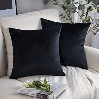 Phantoscope Pack of 2 Velvet Decorative Throw Pillow Covers Soft Solid Square Cushion Case for Couch Black 22 x 22 inches 55 x 55 cm