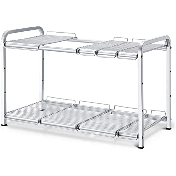 Simple Trending 2 Tier Under Sink Expandable Cabinet Shelf Organizer Rack for Kitchen Bathroom Storage, Silver
