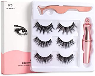 False Eyelashes Magnetic Eyelashes and Liner Kit Natural Reusable Thick Lashes Waterproof Magnetic Eyeliners 3 Pairs with Tweezer