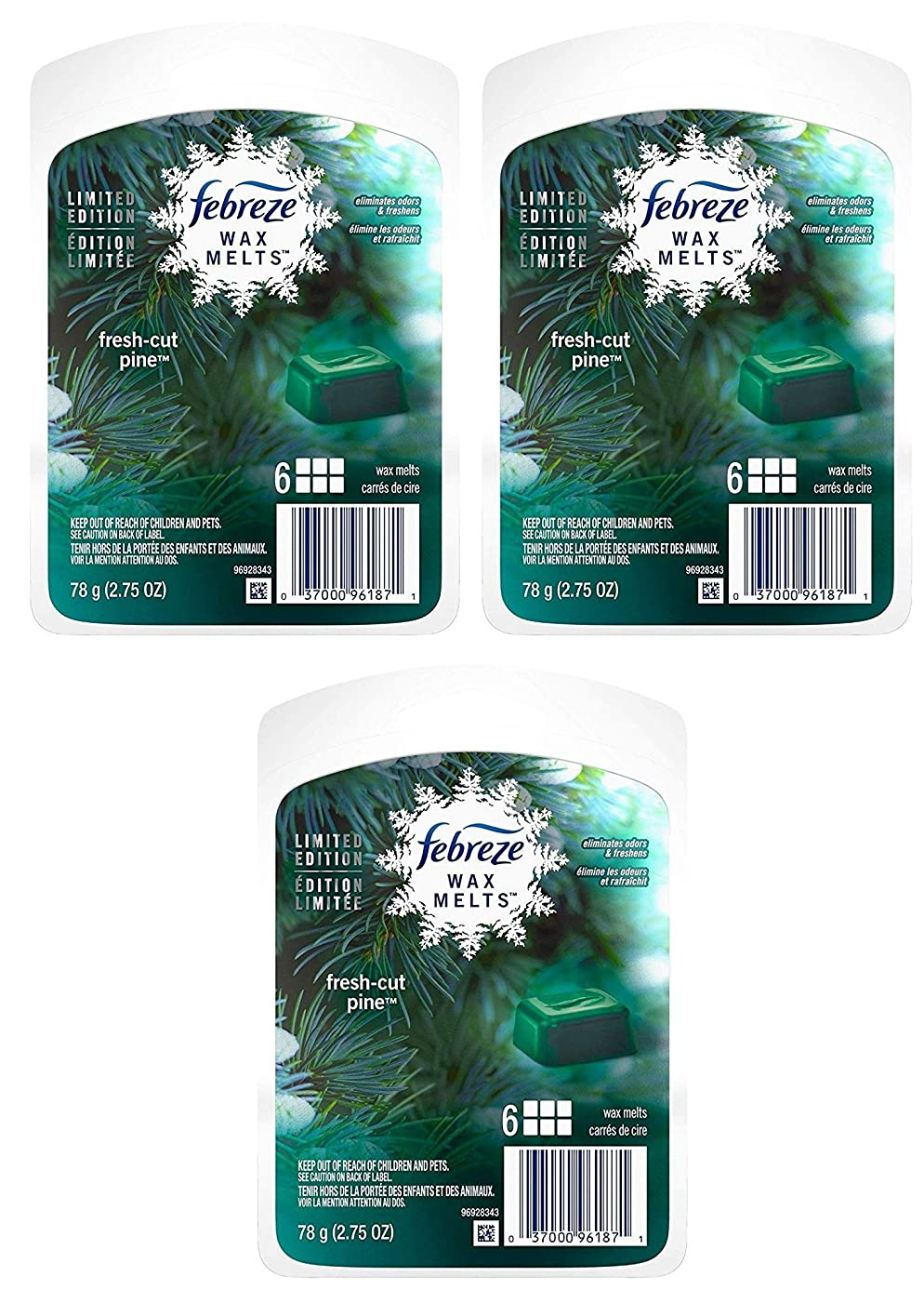 Febreze Wax Melts Air Freshener - Holiday Collection 2018 - Fresh-Cut Pine - Net Wt. 2.75 OZ (78 g) Per Package - Pack of 3 Packages (Packaging Varies)