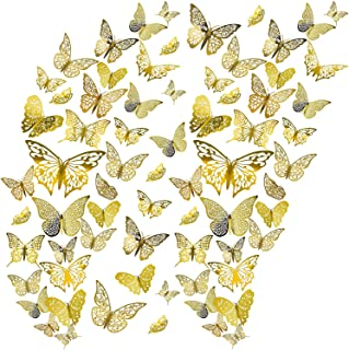 Amoued 36 Pcs 3D Butterfly Wall Decals Stickers,Metallic Hollow-Out Art Decorations, Removable Mural DIY Home Decor(3 Styl...