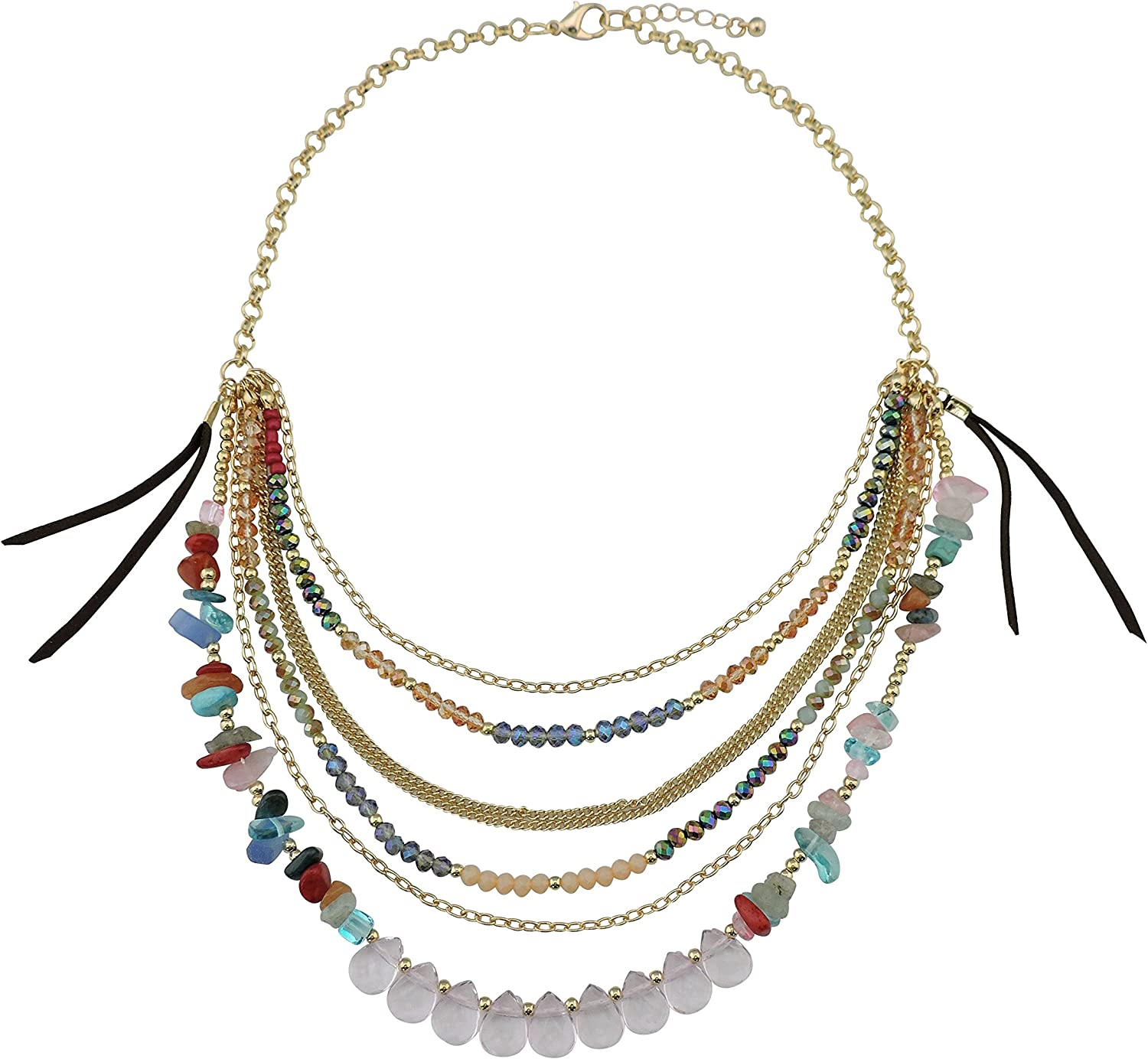 Bocar Multi Layer outlet Gravel Large-scale sale Gemstone Crystal Colla Beads Chain Gold