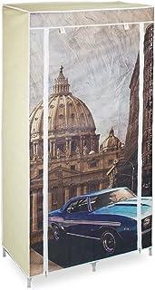 Relaxdays Armoire pliante motif HxlxP: 161 x 83,5 x 42,5 cm penderie pliable en tissu avec 6 étages et une tringle garde-r...