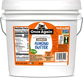 Once Again Natural Crunchy Almond Butter, 9lbs - Roasted - Salt Free, Unsweetened - Gluten Free Certified, Peanut Free, Ve...