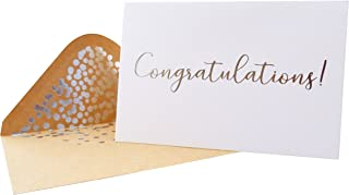 50 Pack Congratulations Card – Elegant Greeting Cards With ''Congratulations'' Embossed In Silver Foil Letters – For Engag...