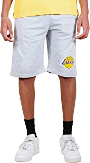 Ultra Game NBA Los Angeles Lakers Men's Active Workout Stripe Basketball Shorts, Heather Gray, Large