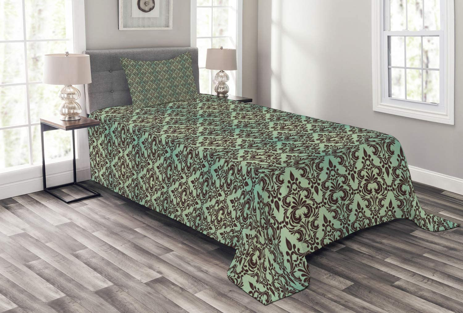 Ambesonne New products world's highest quality popular Mint and Brown Bedspread Ranking TOP15 Dam Flower in Motifs Baroque