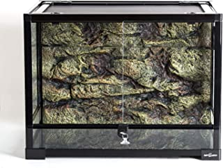 REPTI ZOO 34 Gallon Large Reptile Glass Terrarium Tank with Foam Backgrounds,Double Hinge Door with Screen Ventilation Rep...