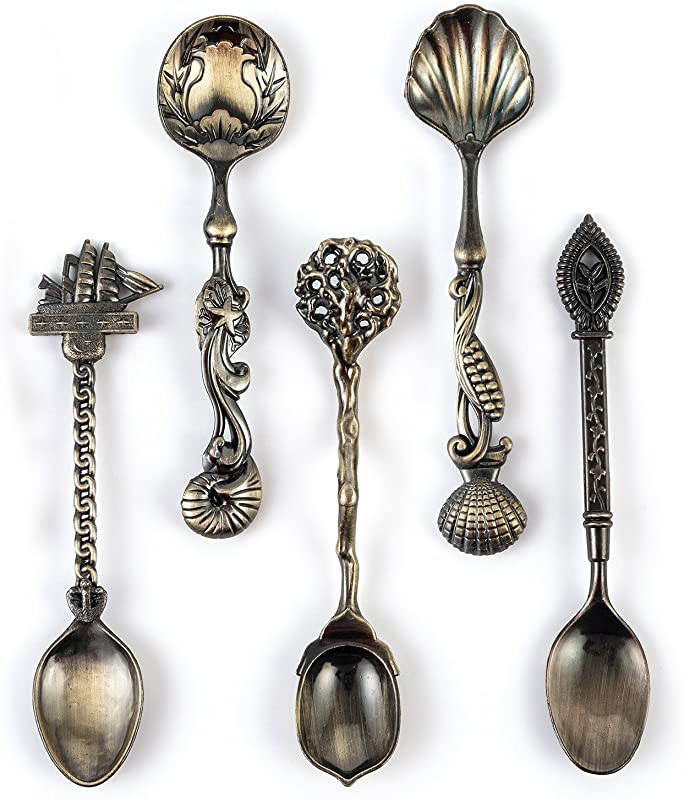 Cyrra 5 Pack Creative Tableware Dessert Jam Spoon Ice Cream Spoons Stirring Spoon Coffee Spoon Ancient Bronze