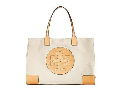 Tory Burch Ella Canvas Tote (Natural/Ivory) Handbags