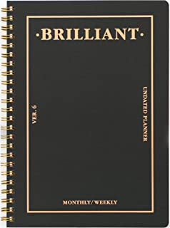 Paperian Brilliant Weekly Planner - Undated Monthly and Weekly Scheduler Diary Black