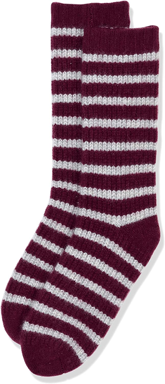 Cashmere & Spun Cashmere Combined womens' stripe knit socks