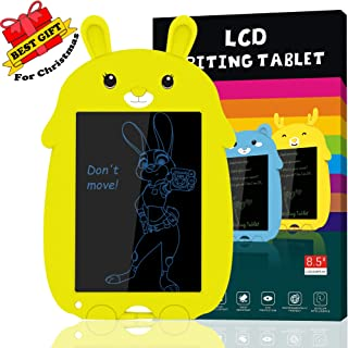 LCD Writing Tablet, 8.5inch Cute Rabbit Drawing Tablet Doodle Board for Kids, Portable Reusable Erasable Ewriter, Electronic Digital Notepad for School, Office, Fridge (Yellow)