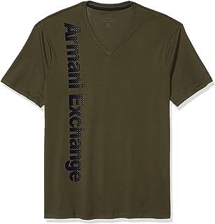 Men's V-Neck Short Sleeve T-Shirt with Vertical Logo