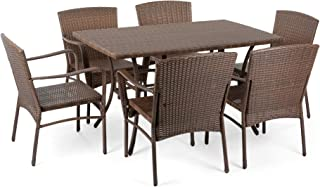 W Unlimited Leisure Collection Wicker Rattan Outdoor Garden Patio Furniture Dining Set (7PC Set)