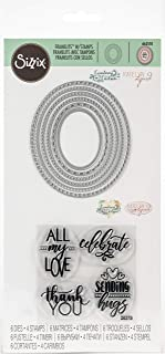 Sizzix 663510 Framelits Die Set with Stamps Layered Oval, 6-Pack, Multicolor