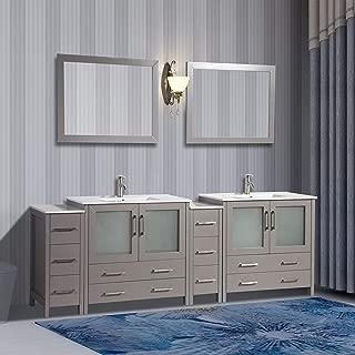 Vanity Art 96 inch Double Sink Modern Bathroom Vanity Compact Set 2 Shelves, 10 Drawers - Ceramic Top Bathroom Cabinet with Free Mirror (Gray) - VA3036-96-G