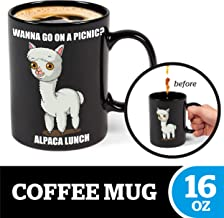 Alpaca Mystery Mug, Color Changing, Holds 16oz, Changes When Hot or Cold, Ceramic Coffee Cup, Made by BigMouth Inc.