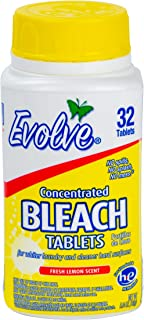 Evolve Concentrated Bleach Tablets, 32 Tablets (Pack of 2 Fresh Lemon)