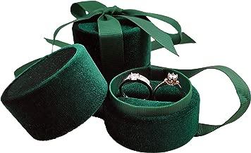 Bearda Velvet Double Ring Box - Premium Cute Round Ring Bearer Earring Jewelry Storage Organizer Gift Box with Elegant Silk Bow for Wedding, Engagement, Birthday, Christmas, Anniversary (Green)