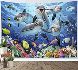 LB Ocean Dolphin Tapestry, Colorful Tropical Fish Coral Tapestry Wall Hanging, Cute Dolphin Sea Turtle Marine Life Wall Tapestry Decor for Bedroom Living Room Dorm Home Decor, 60 x 40 Inches