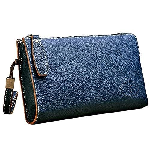 704b4489a Teemzone Genuine Top Leather Business Credit Crard Cash Holder Wrist Clutch  Bag Handbag (Small,