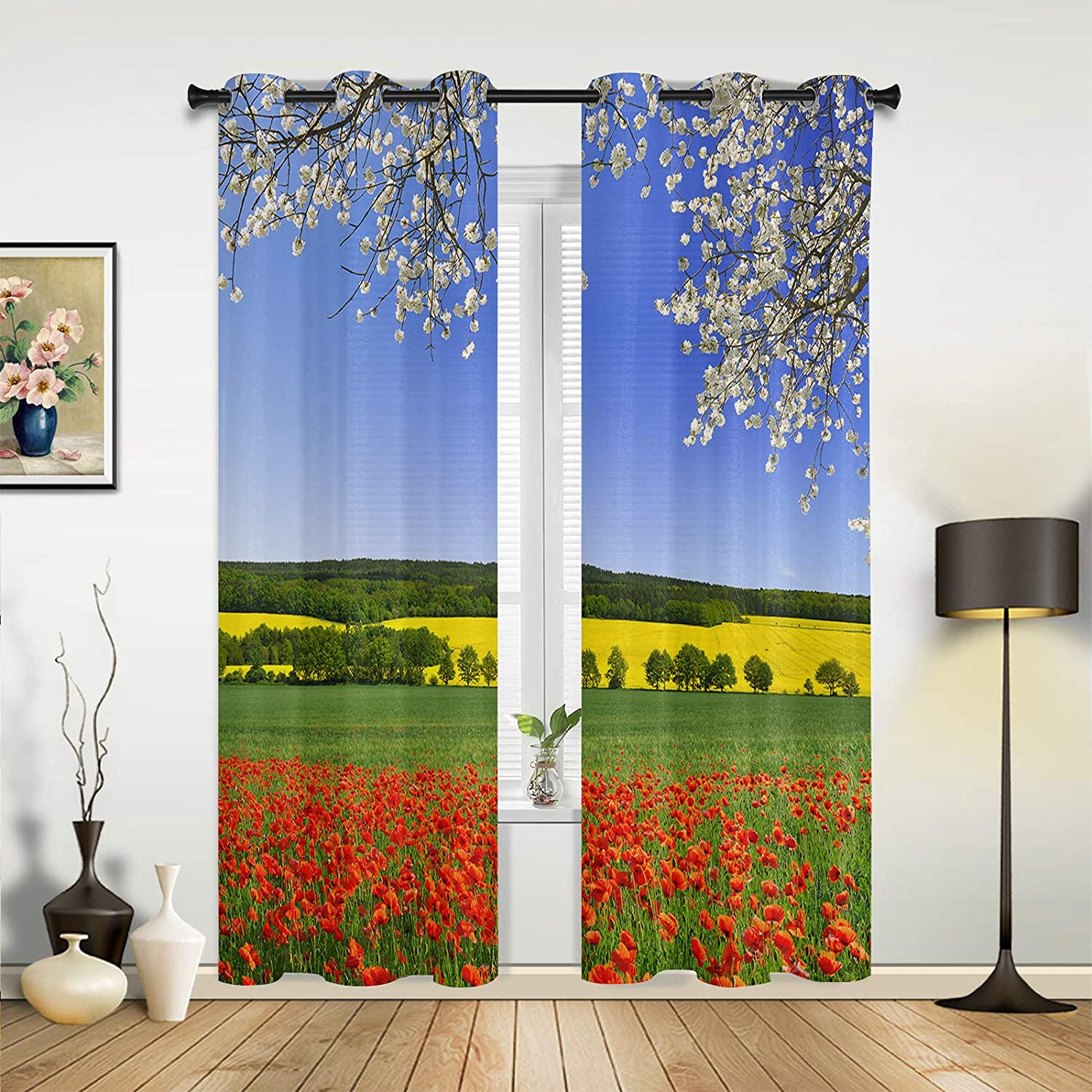 Window Curtains Max 65% OFF Drapes Panels Spring Field Cherry Outlet SALE Scarl Blossoms