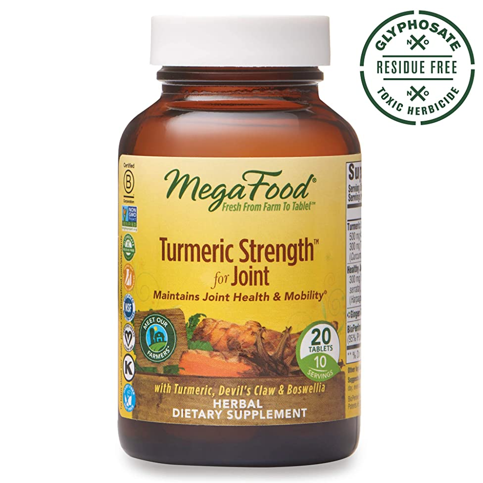 MegaFood - Turmeric Strength for Joint, Curcumin Support for a Healthy Inflammation Response and Comfortable, Flexible Joints with Devil's Claw and Ginger Root, Vegan, Gluten-Free, Non-GMO, 20 Tablets