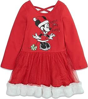 Frozen Minnie Mouse Girls Long Sleeve Dress Cross Back Fur Trim