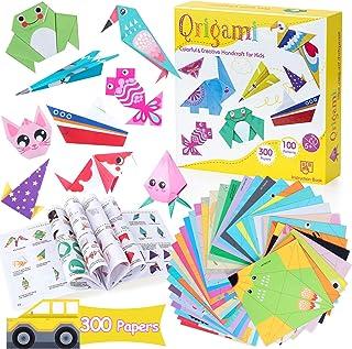 Origami Paper for Kids, 300 Sheets Colorful Origami Paper Kit 5.5Inch, 100 Origami Projects & Easy Origami Book Origami Ki...