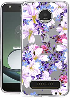 BAISRKE Moto Z2 Play Case, Moto Z2 Force Case with Flowers Slim Shockproof Floral Pattern Soft Flexible TPU Back Cove for Moto Z2 Play / Z2 Force [Purple]