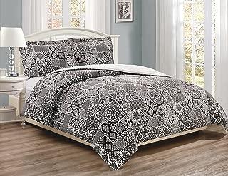 3-Piece Fine printed Comforter Set Reversible Goose Down Alternative Bedding FULL / QUEEN (Black, White, Lattice)