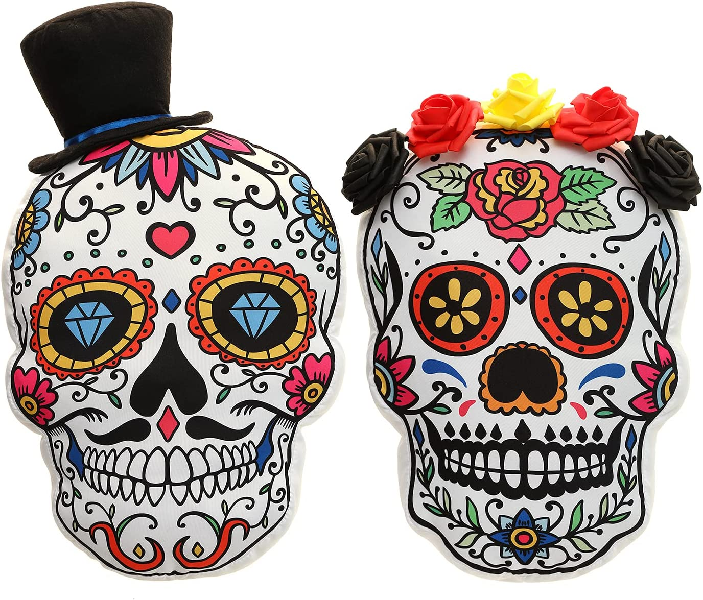 Halloween Throw Pillows Sugar Skull Couples Gifts The Day of The Dead Gothic Decor Halloween Decorations Throw Pillows for Couch Sofa Collection Scary 3D Shaped Cushion