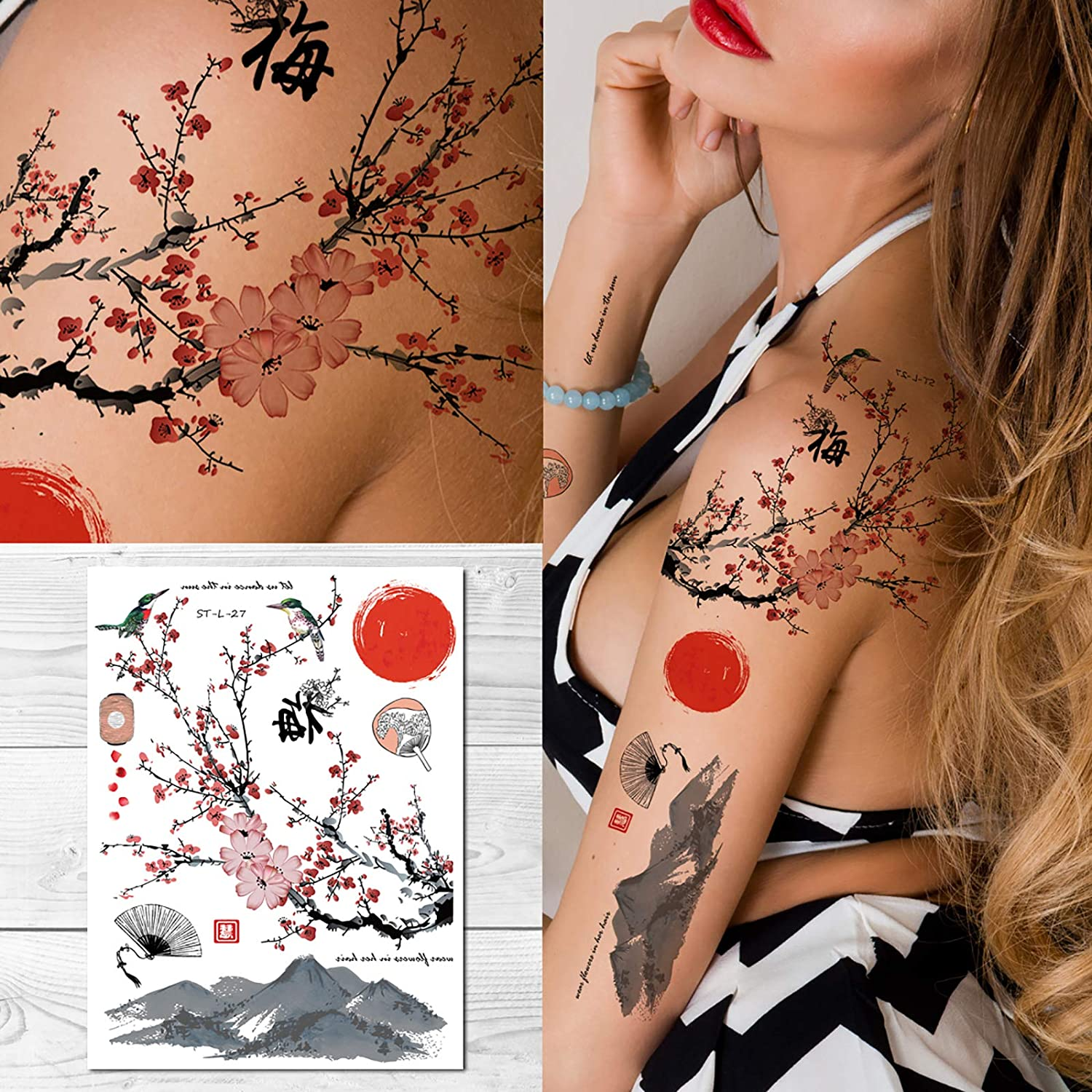 Supperb Temporary Tattoos - Plum Max 52% OFF Factory outlet Dance sun the Blossom in