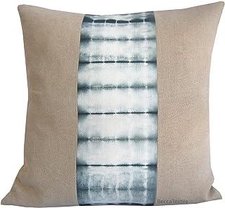 Cojín de lino y shibori color pizarra claro Cojín 45 x45 cm.Gris pizarra y lino natural - BeccaTextile
