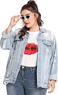 Floerns Women's Plus Size Ripped Distressed Long Sleeve Denim Jacket