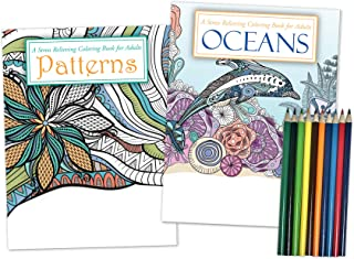 Gift Pack: 2 Adult Coloring Books & Coloring Pencils Set - Oceans Coloring Book and Patterns Coloring Book - Includes 10 P...