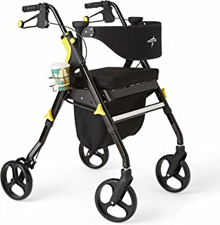 Medline Premium Empower Rollator Walker with Seat, Folding Rolling Walker with 8-inch Wheels, Black